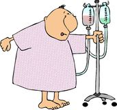 Man in a hospital gown. This illustration depicts a man in a hospital gown pushing an IV stand Royalty Free Stock Photos
