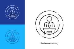 Man host business presentation line art vector icon. Finance report line art icon, business presentation vector art, outline digital meetup illustration Stock Photo