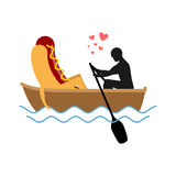 Man and hot dog in boat ride. Lovers of sailing. Man rolls fast Stock Photos