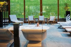 Men in hot tub in spa center. The man in hot tub in spa center royalty free stock photos