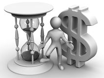 Man with hourglass and dollar Stock Images