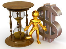 Man with hourglass and dollar Royalty Free Stock Image