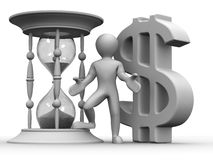 Man with hourglass and dollar Royalty Free Stock Photo