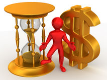 Man with hourglass and dollar Royalty Free Stock Photos