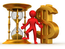 Man with hourglass and dollar Stock Image