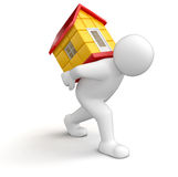 Man and house (clipping path included) Royalty Free Stock Images