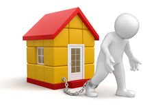 Man and House (clipping path included) Stock Photos