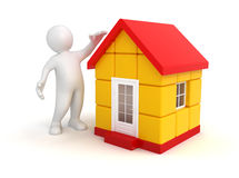 Man and house (clipping path included) Stock Photography