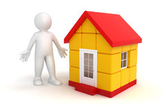 Man and house (clipping path included) Royalty Free Stock Photo