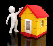 Man and house (clipping path included) Royalty Free Stock Photography