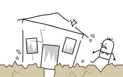 Man with house & earthquake. Hand drawn cartoon character - man with house & earthquake