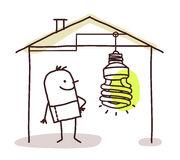 Man in house and green light Royalty Free Stock Photography