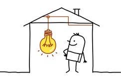Man in house & light bulb. Hand drawn cartoon characters - man in house & light bulb Stock Photo