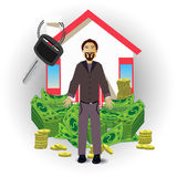 A man with a house and a pack of money on white Royalty Free Stock Image