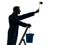 Man house painter worker silhouette Royalty Free Stock Photos