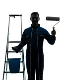 Man house painter worker worker silhouette Royalty Free Stock Images
