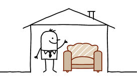Man in house & sofa. Hand drawn cartoon characters - man in house & sofa royalty free illustration