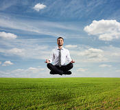 Man hover over green field Stock Photography