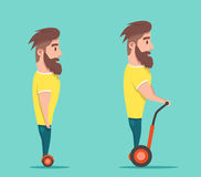 Man on hoverboard. Cartoon vector illustration Stock Photo