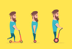 Man on hoverboard and scooter. Cartoon vector illustration Stock Photos