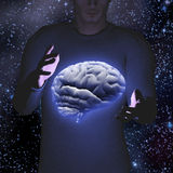 Man hovers brain Stock Photography
