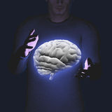 Man hovers brain Stock Image
