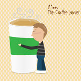 Man hug a cup of coffee saying I'm the coffee lover Stock Photography