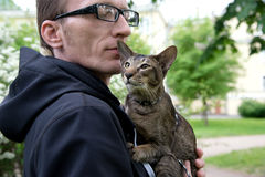 Man hug his cat outdoor Royalty Free Stock Photo