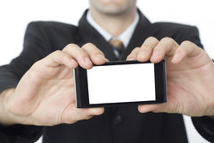 Man with Huge Blank Screen Smartphone Royalty Free Stock Photography