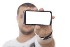Man with Huge Blank Screen Smartphone Stock Images