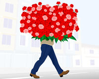 Man with huge bouquet Stock Photography