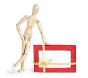 Man with the huge gift box Stock Images