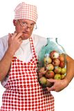 A man with huge jar filled with apples Royalty Free Stock Photos