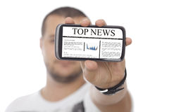 Man with Huge Screen Smartphone with news Stock Image