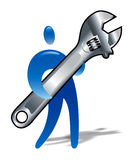 Man with huge wrench. Man figure with huge wrench Vector Illustration