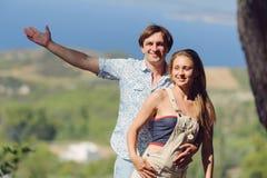 Man Hugging Girlfriend Royalty Free Stock Images