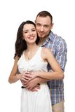 Man hugging his beloved. They are happy together Stock Photography