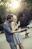 Man hugging his lovely girlfriend Royalty Free Stock Photography