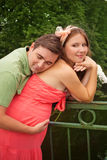 Man hugging his pregnant wife Royalty Free Stock Photos