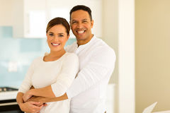 Man hugging his wife royalty free stock images