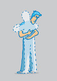 Man hugging with missing or absent person. Cartoon illustration of man hugging a missing person or ghost Stock Images