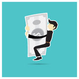 Man hugging silver shiny suit a blue background Royalty Free Stock Photo
