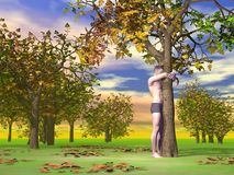 Man hugging a tree - 3D render Royalty Free Stock Photo