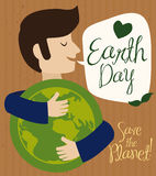 Man Hugging World Representation in Earth Day, Vector Illustration Stock Photos