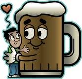 Man Hugs Beer. Cute cartoon of a little man hugging a big mug of beer Royalty Free Stock Photo
