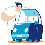 A man hugs a car. Scalable  illustration in cartoon style Stock Image