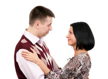 Man hugs and loving looks at the girl Royalty Free Stock Images