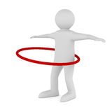 Man and hula hoop on white background Royalty Free Stock Image