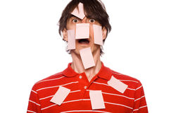 Man with hundreds of post it notes Stock Images