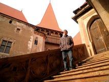 Man Hunedoara Castle. Man beautiful Hunedoara medieval castle Transylvania Romania Royalty Free Stock Photos